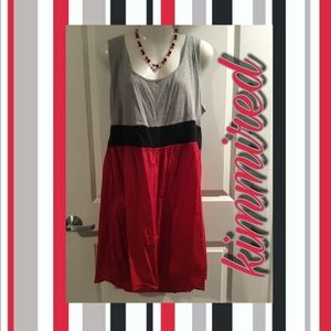 Gray/Black/Red Tank Dress ~ 2X